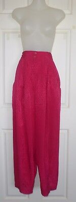 MATHILDE Vintage 1980's Style - Hot Pink Gathered Front Silky Pants