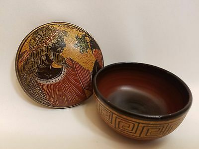 Greek God Dionysus Rare Hellenic Ancient Art Pottery Jewelry Case Aged