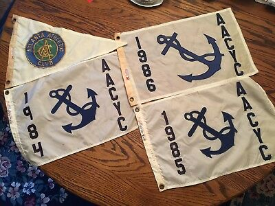 Lot of Vintage Atlanta Athletic Club Nautical Style Flags 1980's