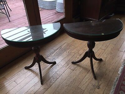 Vintage Pair Small Mahogany Demilune Tables