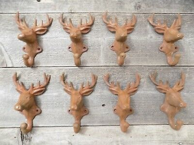 8 Rustic Elk Deer Moose Head Hooks Cast Iron Coat Hook Rack Restoration Hat