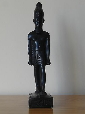 c.19th - Antique Vintage Egypt Egyptian Pharaoh Black Figurine Statue Figure