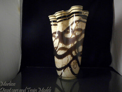 "Antique 13"" Tall Large Hand Blown Art Glass Ruffled Top Vase"
