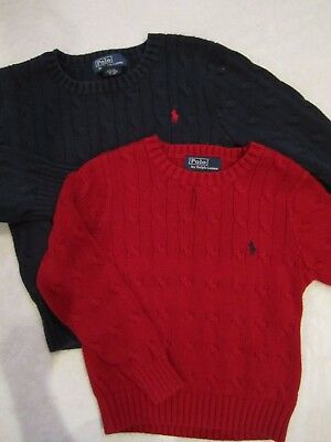 Lot 2 Boy'S Polo Ralph Lauren Cable Knit Sweaters-Red/blue-3/3T-Guc