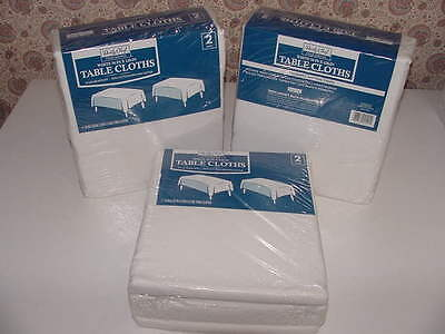 "6 - Daily Chef Tablecloths White 54"" x 120"" Stain Resistant Cotton Polyester NEW"