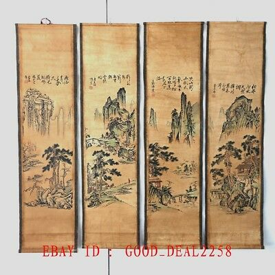 A Set Of 4 Pieces ,Old Scroll Chinese Ink And Wash Painting & Calligraphy Zh001M