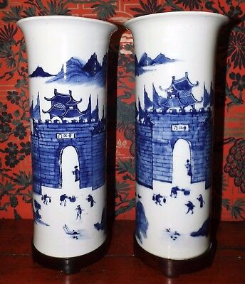 Top Fine Pair Chinese 19th c. B&W Kangxi Style Porcelain Sleeve Vases Characters