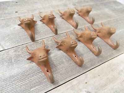 8 Cast Iron Bull Hooks Wall Hanging Decor Coat Hat Storage Steer Cow Buffalo LOT