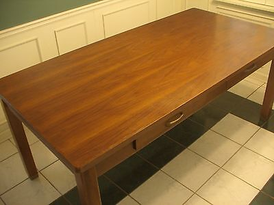 Library table, solid walnut, 2 drawer, brass tipped legs