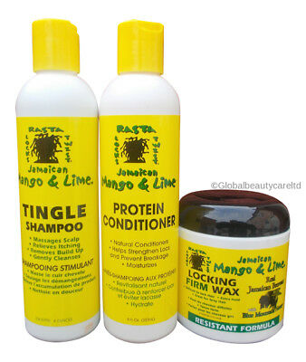 Jamaican Mango & Lime Tingle Shampoo & Protein Conditioner,Locking Firm Wax