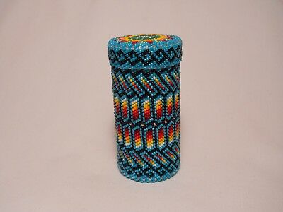 Peyote Stitch Beaded Glass Container Native American Church