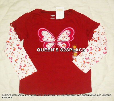 Nwt Gymboree Girls size 4 4T Butterfly Girl red floral long sleeve top t-shirt