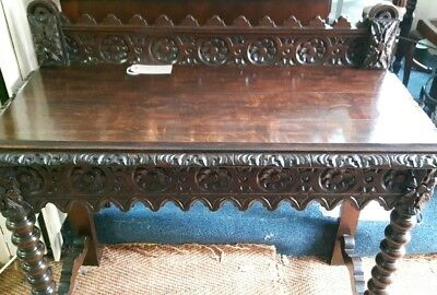 antique victorian carved gothic hall / side table