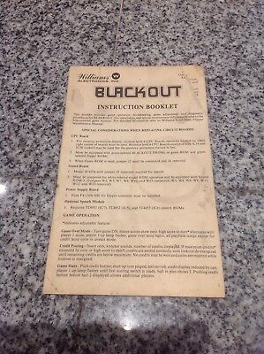 Williams Black Out Pinball machine Manual instruction booklet blackout