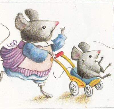 CLEARANCE Kids Mouse w Baby Mice Sticker From Vintage Book Animals SALES