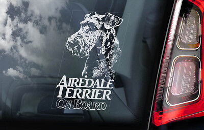 Airedale Terrier on Board - Car Window Sticker - Waterside Dog Sign Decal - V03