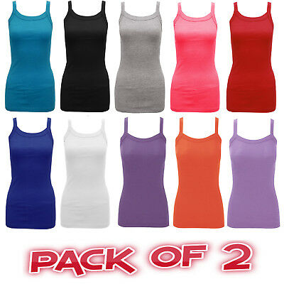 Pack of 2 Women Ladies Girls Plain Ribbed Stretchy Strap Summer Vest Top T Shirt