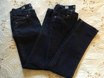 (2) Pairs Girl's Skinny Jeans by Cherokee, Size 12,  Adjustable Waist, 5 Pockets