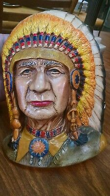 Large Molded, Hand Painted Cherokee Indian Chief Head Vintage authentic b85