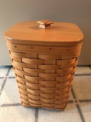 "LONGABERGER 2002 Tall Square Basket With Wood Lid & Protector 10.5"" Tall"