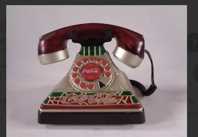 Coca-Cola Vintage Stained Glass Look  Telephone Phone Lights Up