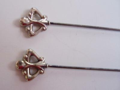 A Pair of Pretty Victorian/Edwardian Silver Hat Pins.