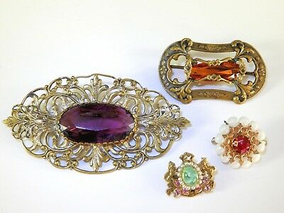 Vintage Antique ART NOUVEAU Sash Pin Brooch LOT Rhinestones Brass Brooches