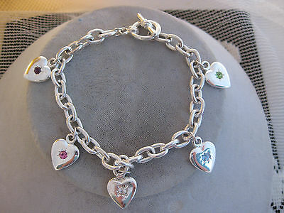 Estate Costume 5 Heart and Pastel Rhinestone Bracelet Silver Tone Toggle Clasp