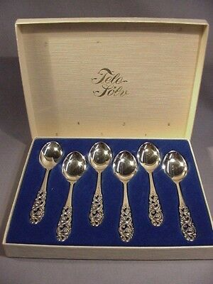 Norway Mylius Brodrene 830 Silver Tele Set of 6 Demitasse Spoons