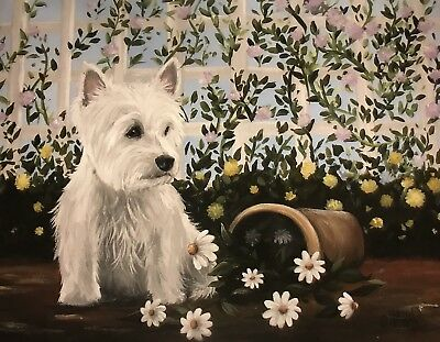 West Highland Terrier WESTIE PRINT from Painting art Dog 11x14 LAST ONE!