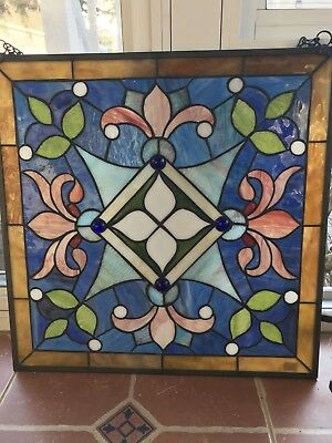 "19.75"" x 19.75"" square stained glass with sturdy metal chain to hang."