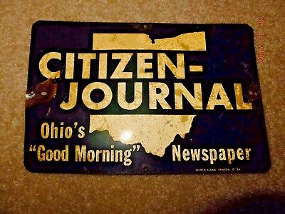 """Vintage 1964 Citizens-Journal Ohio's GOOD MORNING Newspaper.  Sign 8.5"""" x 5.5"""""""