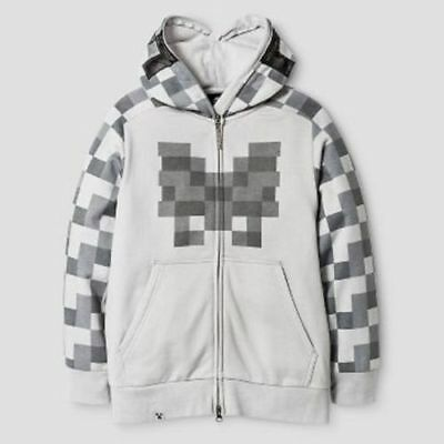 Jinx Minecraft Costume Hoodie Gray Skeleton Face Game XS--NWT Youth Kids