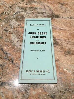 1936 Revised Prices on John Deere Tractors and Accessories