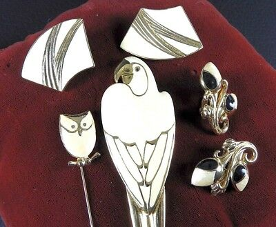 Vintage Signed Trifari Enamel Gold Tone LOT Pins Brooch Earrings Rare Hard/Find