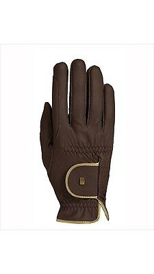 (8, mocca-gold) - Roeckl - ladies contrast riding gloves LONA. Shipping Included