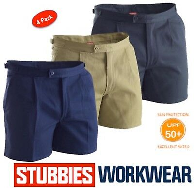 "Pack Of 4  Stubbies Mens Drill ""utility"" Tab Side Reinforced Work Shorts Bb5513"