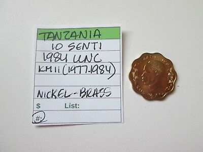 Single coin from TANZANIA, 10 senti, 1984, UNC, Km 11 (1977-1984), Zebra