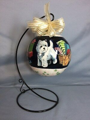 Westie terrier ornament holiday christmas present artist original ceramic OOAK