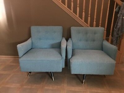 Vintage 1950's Blue apolstered Arm Chairs