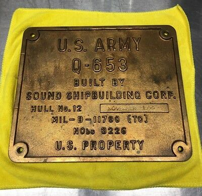 Ship Builders Plate - Military - 1954 U.S Army Sound Shipbuilding Corp - Q-563