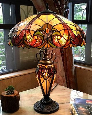 Table Lamp 2 Light Lit Base Stained Cut Glass Tiffany Vintage Style Handcrafted