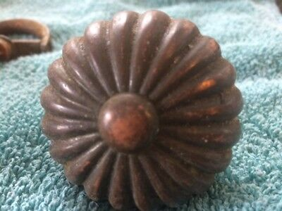 Antique Victorian Brass Bronze Door Knob Fancy Round delicate Nuveau Deco
