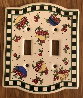 Mary Engelbreit Light Switch Plate Cover Bowl of Cherries Ceramic Double New