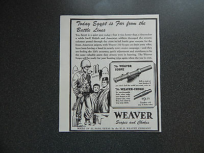 Original Vintage Ad WWII Era Weaver Scopes And Chokes VG Condition