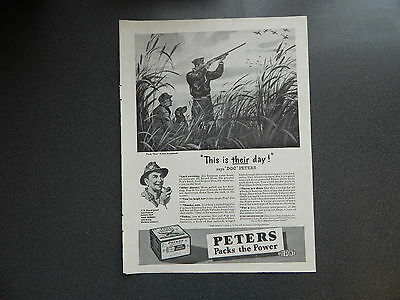 Original Vintage Ad WWII Era Peters Hunting Cartridges Good Condition