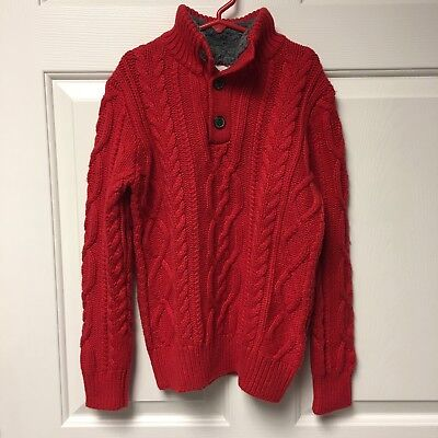 Gap Kids Red Holiday Cable Knit Sweater Button Up Sherpa Collar Boys Medium Sz 8