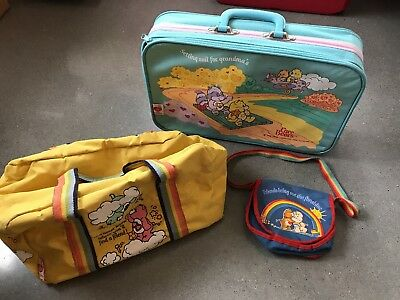 Vintage 1980s Care Bears Small Rainbow Purse, Travel Bag and Light Blue Suitcase