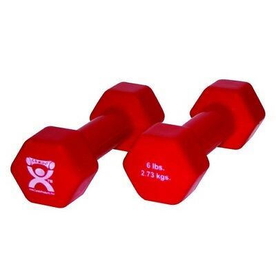 CanDo 10-0555-2 Vinyl Coated Dumbbell 2.7kg. Red Pair. CanDo Fitness and Rehab