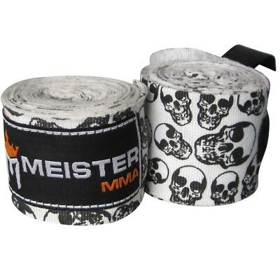 (Death Skulls) - Meister Adult 460cm Semi-Elastic Hand Wraps for MMA & Boxing